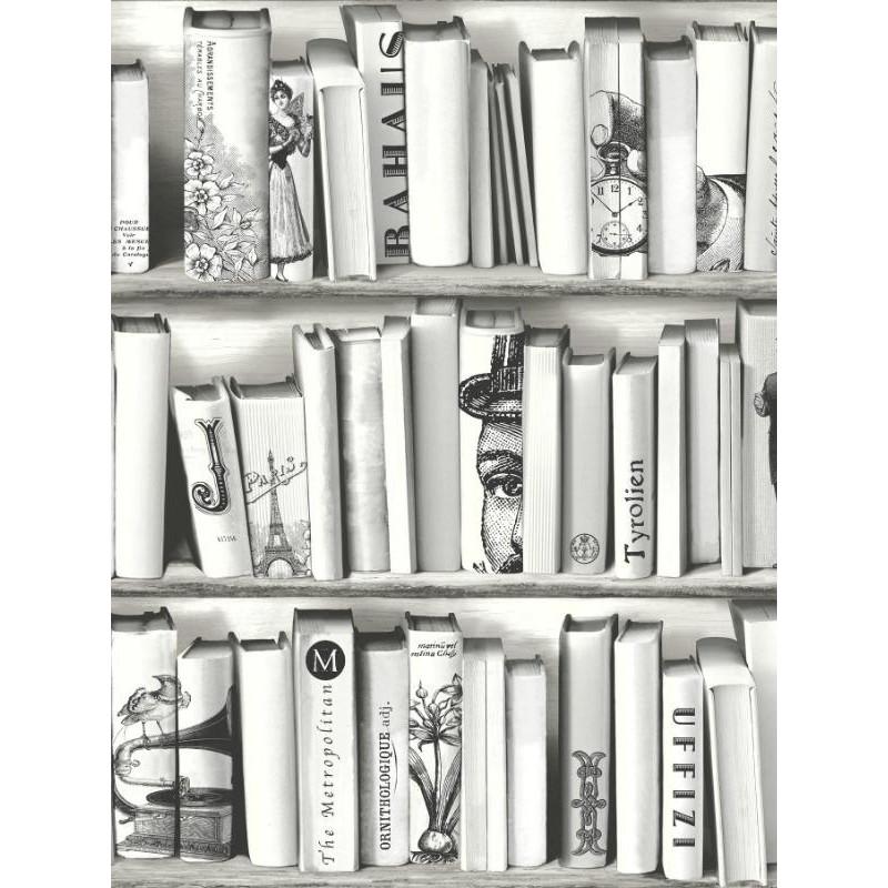 papier peint vinyle trompe l œil bibliotheque beige ugepa