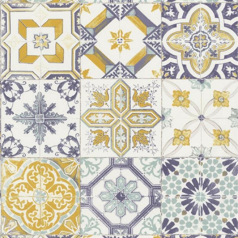 Papier Peint Vinyle Carreaux De Ciment Jaune Et Bleu Material Caselio