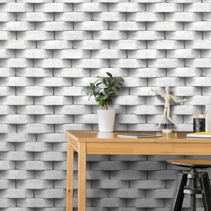 papier peint trompe l œil effet 3d briques blanc gris ugepa
