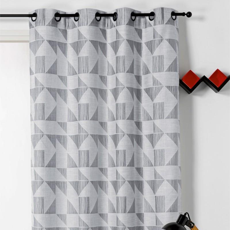 rideau pret a poser a motif geometrique gris loto linder