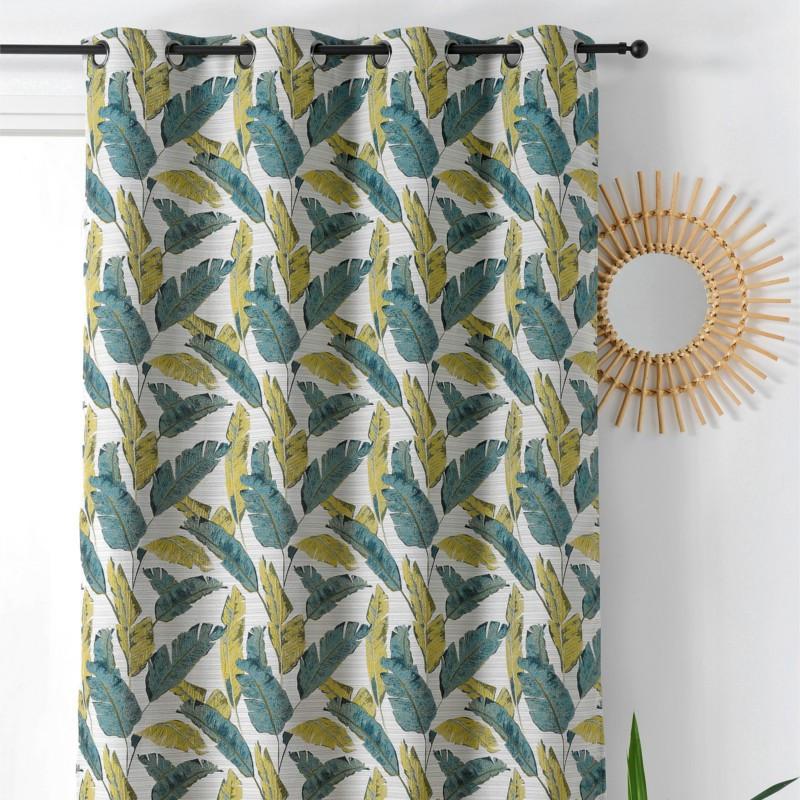 rideau pret a poser a motif feuille peacok bleu vert linder