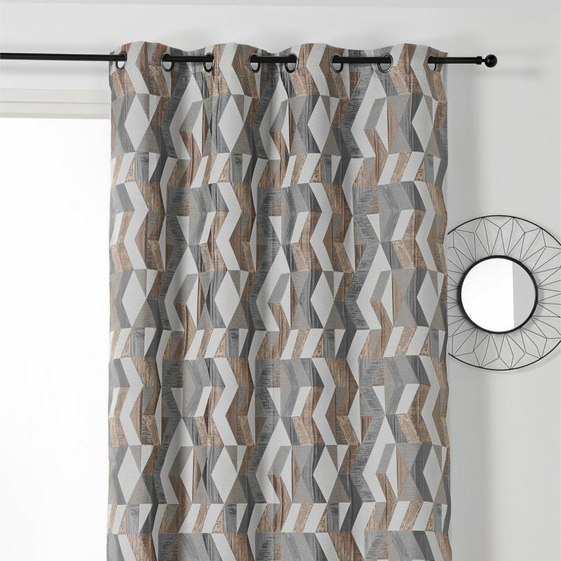 rideau a œillets a motif geometrique beige et gris chloe linder