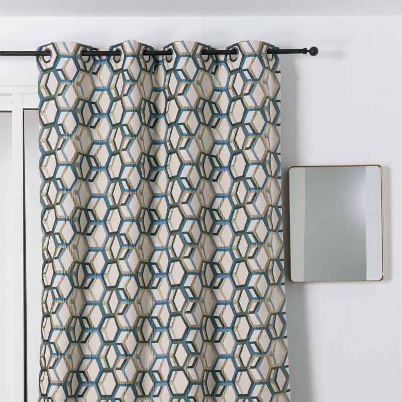 rideau a œillets motif geometrique bleu et dore alanis linder