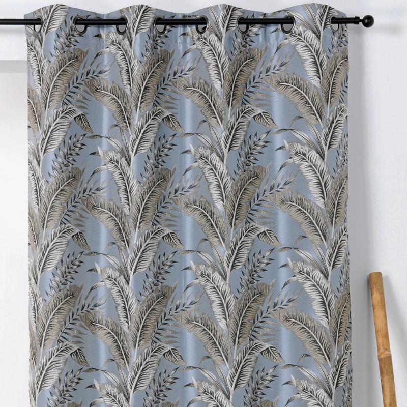 rideau a œillets motif exotique gris bleute sumatra linder