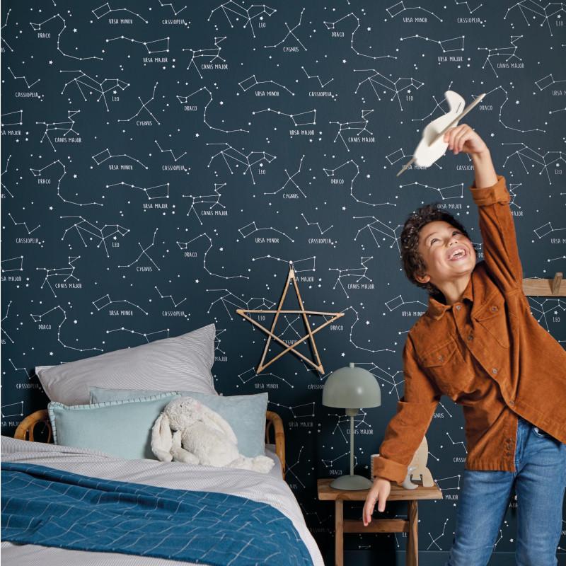 papier peint constellations bleu nuit our planet caselio oup101916918