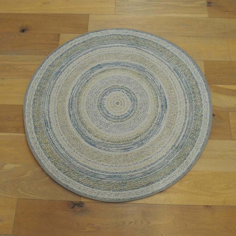 tapis rond corde circle jaune et bleu star 120cm