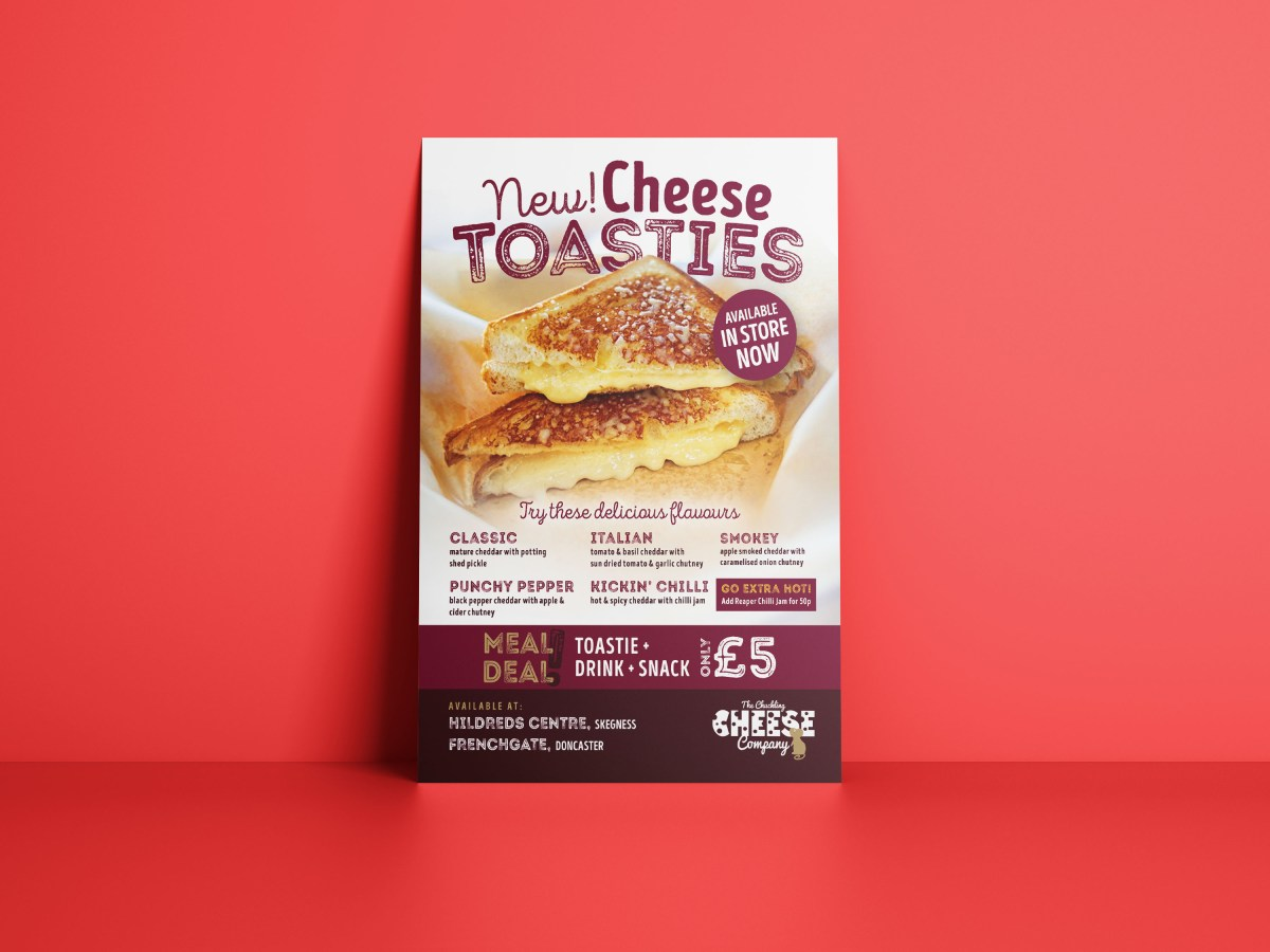 Chuckling Cheese New Cheese Toasties Flyer Design