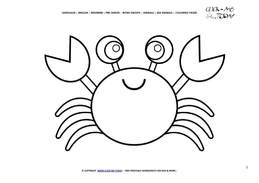Coloring Page Crab Color Picture Of Crab