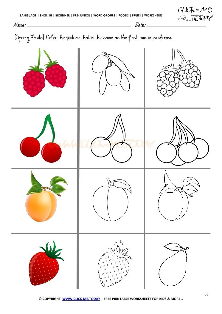 Fruits Worksheet 53 Color The Same Spring Fruit