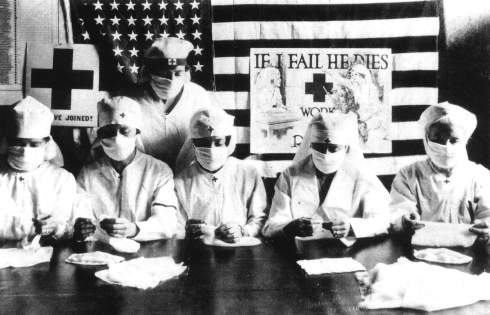 FILE PHOTO - JANUARY 27:  Red Cross volunteers fighting against the spanish flu epidemy in United States in 1918  (Photo by Apic/Getty Images)