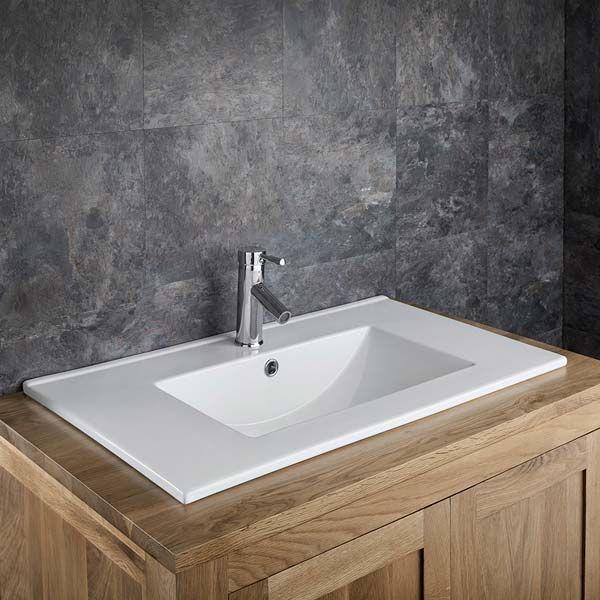 large self rimming rectangular bathroom basin in white ceramic 760mm x 460mm countertop sink petra