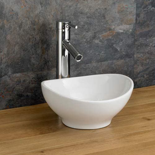 small oval countertop bathroom basin in white ceramic 300mm x 280mm freestanding cloakroom sink bologna