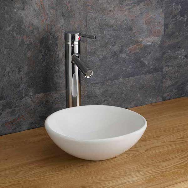 small round countertop basin in white ceramic 285mm diameter cloakroom or ensuite sink dia gela