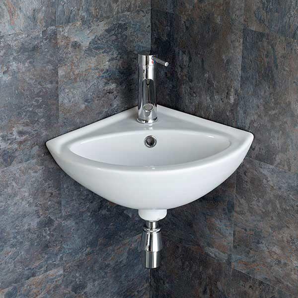 small corner bathroom basin in white ceramic 480mm x 400mm space saving cloakroom sink madeira
