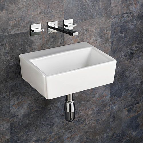 rectangular wall mounted bathroom basin in white ceramic 385mm x 300mm no tap hole sink nice