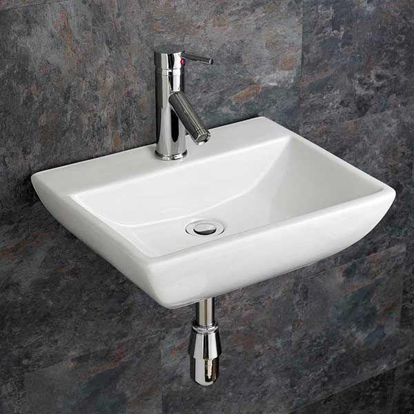 rectangular wall hung bathroom basin in white ceramic 450mm x 350mm wall mounted sink massa