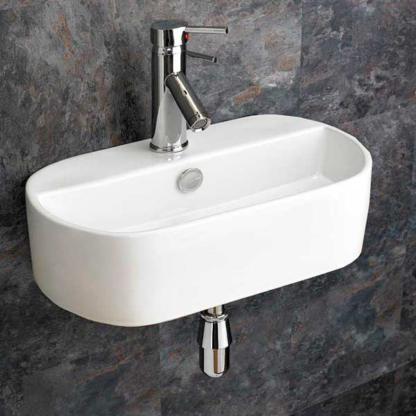 narrow oval wall hung bathroom basin in white ceramic 440mm x 300mm cloakroom or ensuite sink sienna