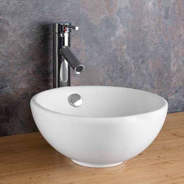 round countertop bathroom basin white ceramic with overflow 300mm diameter stabia