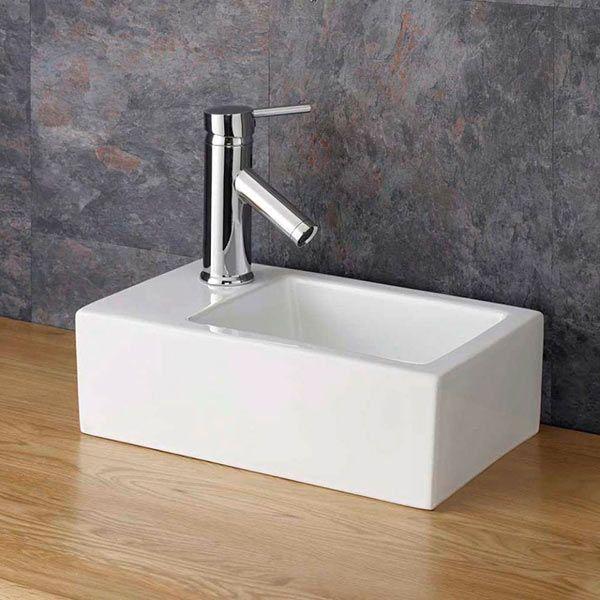 small countertop cloakroom basin rectangular left hand white ceramic 360mm x 235mm taranto