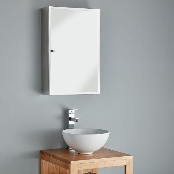 compact stainless steel bathroom storage mirror cabinet 400 x 600 monaco
