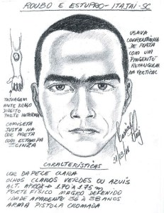 retrato falado suspeito estupro e roubo Itaja grande