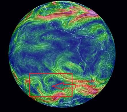Vento no nível de 500hPa no dia 30/01/2014 do modelo de previsão numérica GFS/NCEP – earth.nullschool.net