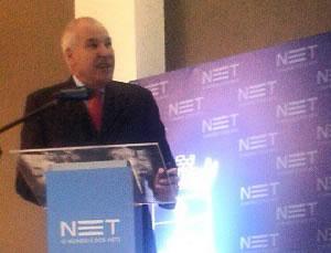 Walmor Reichert, gerente da Net, durante a apresentação da operadora em evento no Infinity Blue, na quinta-feira, 25. (Pedro G. da Rosa)