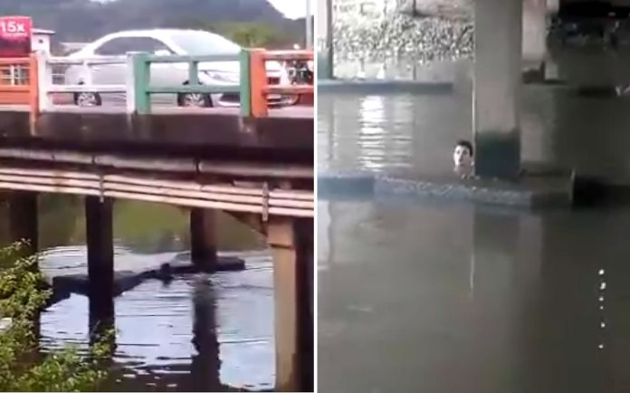 se jogou no rio