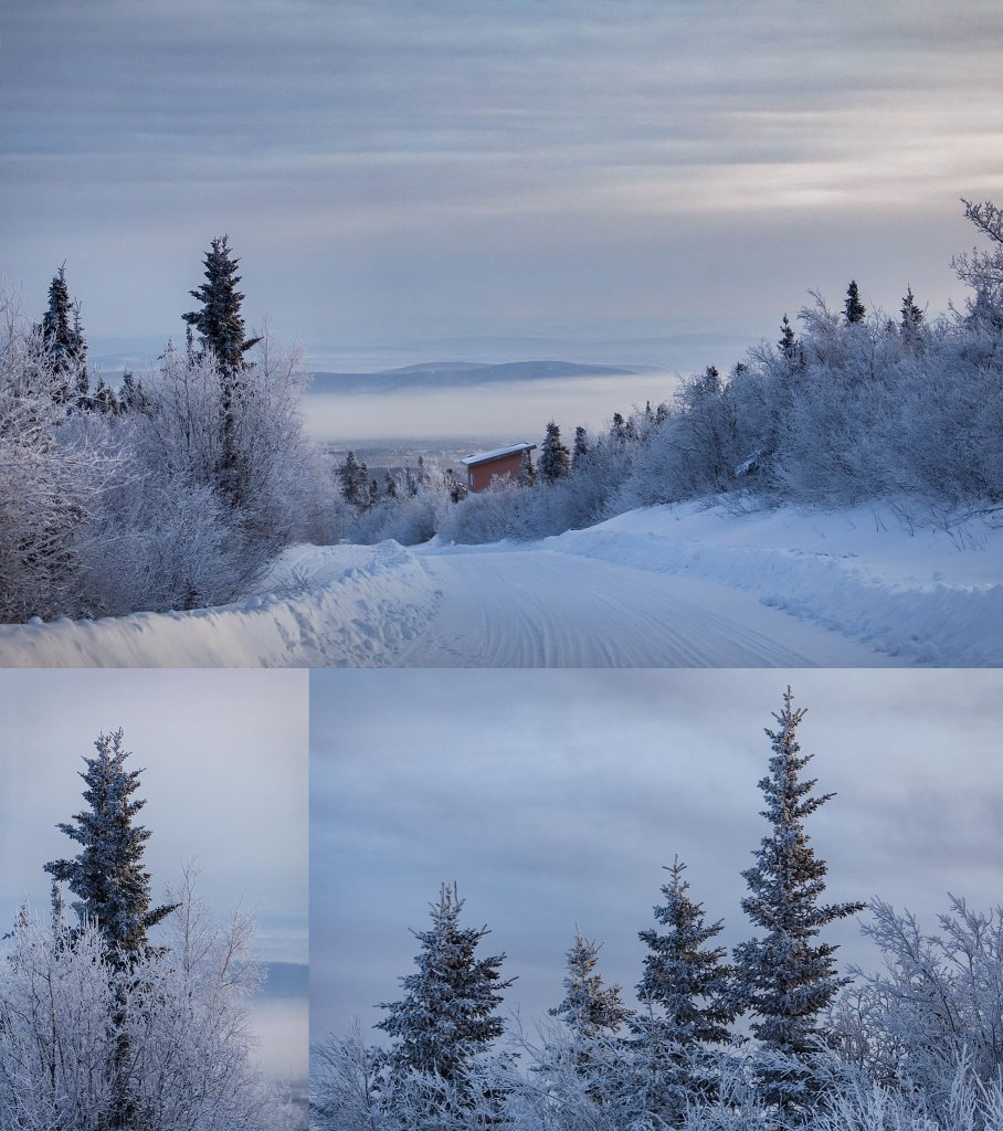 Frozen landscape on Ester Dom in Fairbanks Alaska