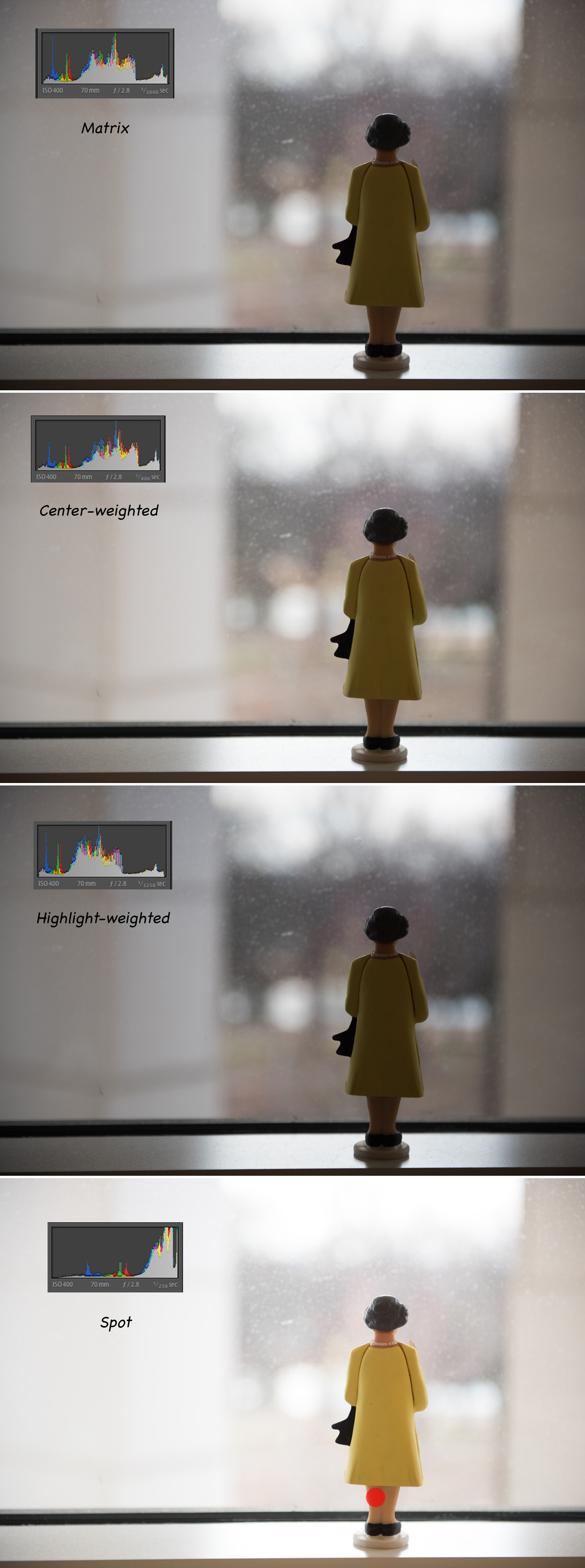 examples of different metering modes in a backlight situation by Amy Kolodziej
