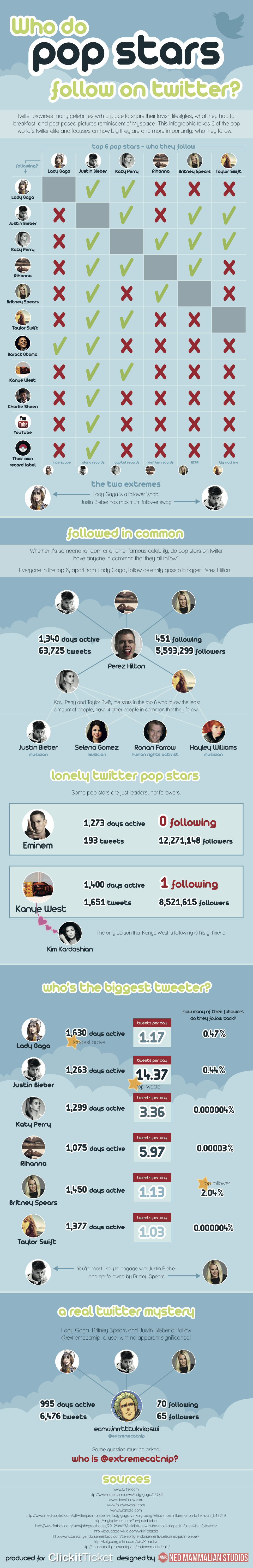Who Do Pop Starts Follow 2012 Infographic