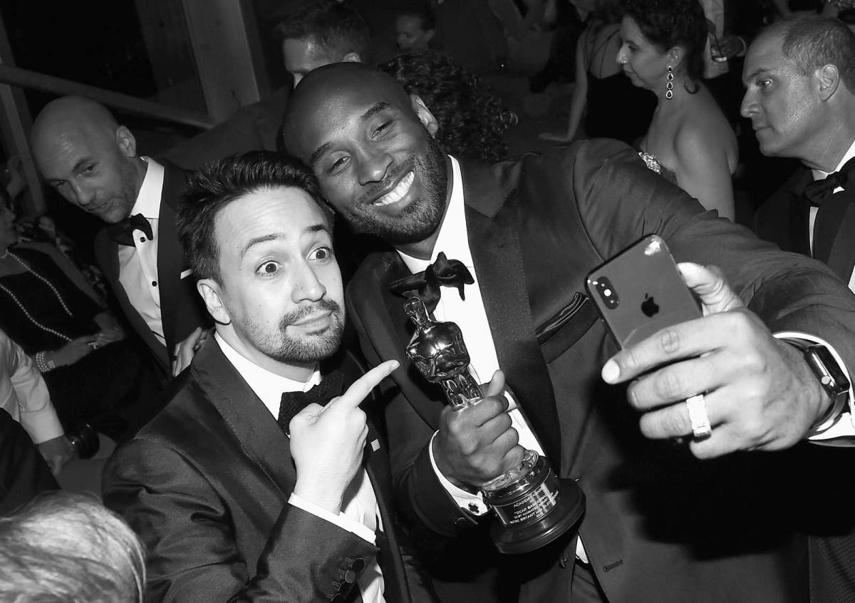 Lin-Manuel Miranda and Kobe Bryant attend the 2018 Vanity Fair Oscar Party hosted by Radhika Jones at Wallis Annenberg Center for the Performing Arts.