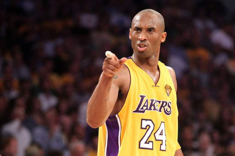 Kobe Bryant points in the second quarter of Game 7 in the 2010 NBA Finals against the Boston Celtics at Staples Center.