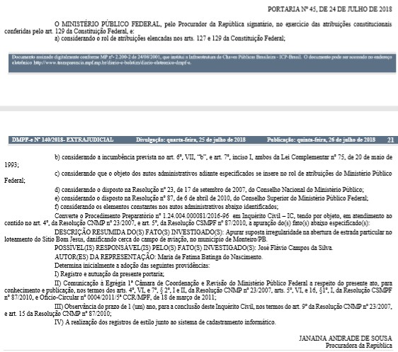 mpf portaria 1 - MPF investiga irregularidades nas obras do campo de aviação de Monteiro