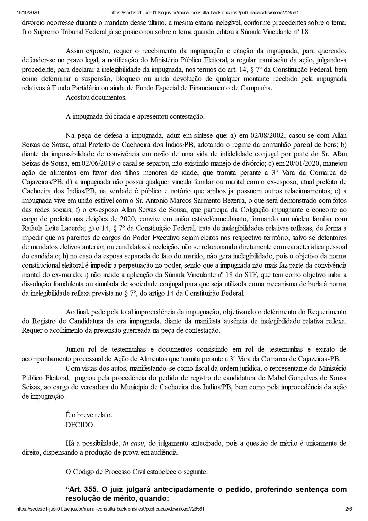cachoeira dos indios mabel page 0002 - DECISÃO: Justiça Eleitoral indefere registros dos dois únicos candidatos a prefeito de Cachoeira dos Índios