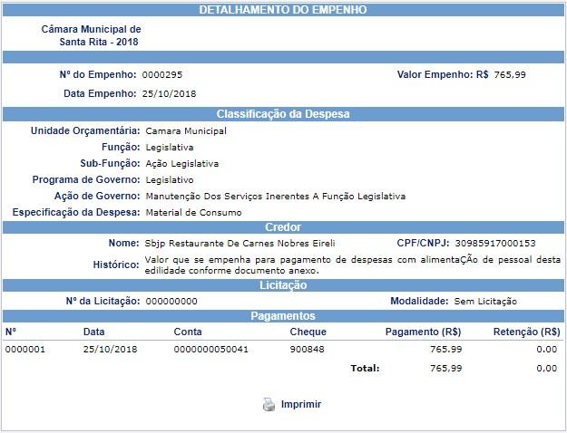screenshot 1 - TCE afirma que Câmara de Santa Rita pagou despesas de rodízio de carnes nobres no Sal e Brasa