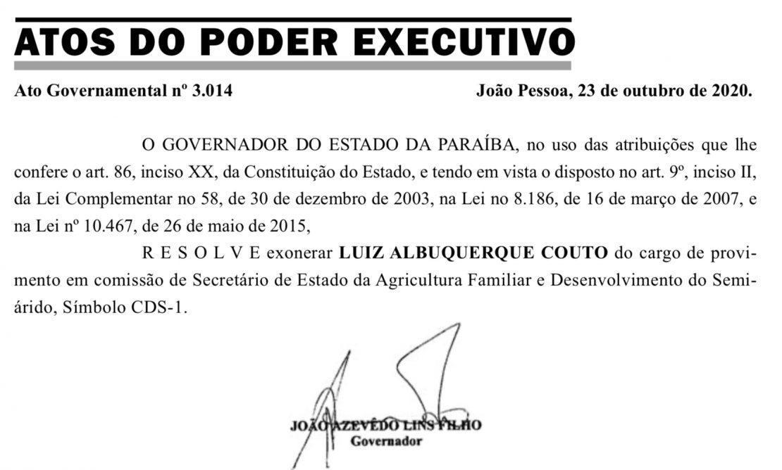 whatsapp_image_2020-10-25_at_151306 João Azevêdo exonera Luiz Couto após declaração de apoio a Ricardo Coutinho
