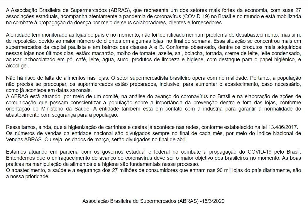 associacao brasileira de supermercados abras - Estoque de comida: medo do coronavírus provoca corrida a supermercados em João Pessoa