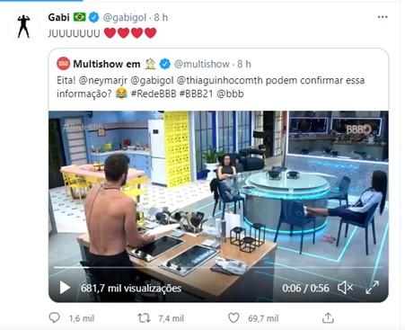 juliette_e_gabigol Após Juliette citar que Gabigol torce por ela no BBB 21, jogador responde a sister com corações
