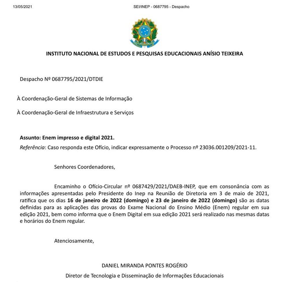 despacho Após anúncio de mudanças no Enem 2021, secretário de Educação da Paraíba diz que cenário já era esperando devido à pandemia