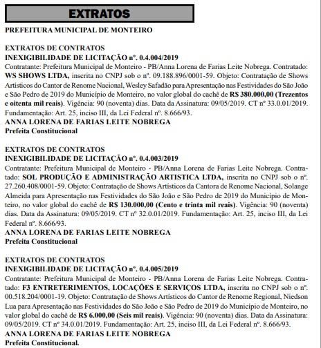 whatsapp image 2019 05 11 at 104407 - São João de Monteiro: Cachês de Wesley Safadão e Solange Almeida somam mais de meio milhão
