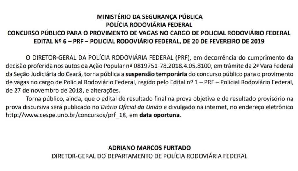 ministerio - Decisão judicial suspende concurso público para 500 vagas da Polícia Rodoviária Federal