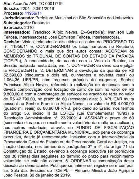 denuncia ex prefeito francisco alipio de sao sebastiao de umbuzeiro pb diario tcepb 110219 - TCE-PB determina que ex-prefeito, Chico Neves, devolva mais de R$ 52 mil por despesas sem comprovação
