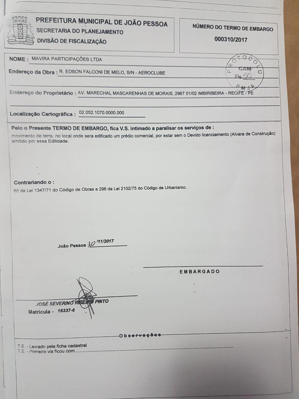 d1e0c2e5 6dbf 4b63 b574 cf85a1652326 - Prefeitura da Capital embarga construção ilegal na estrada de Cabedelo