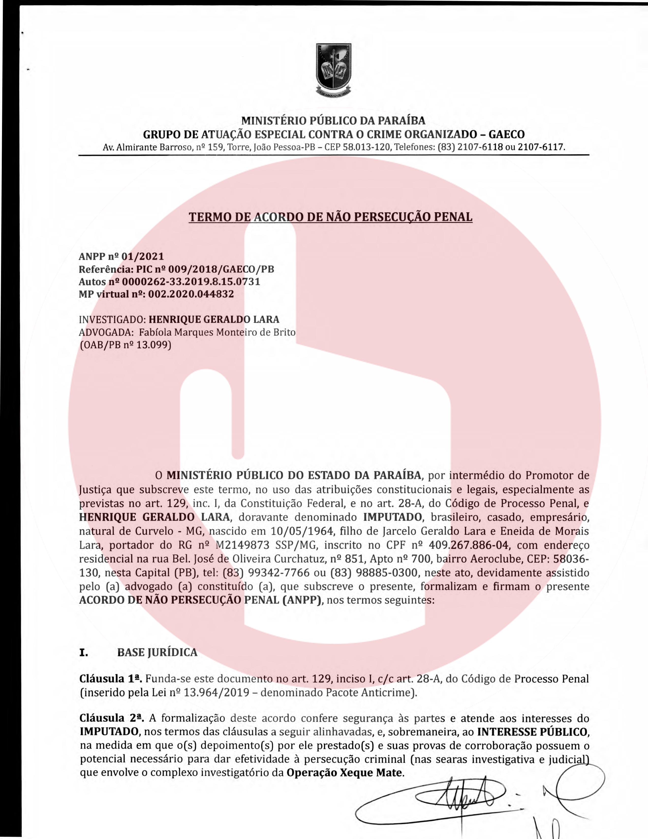 termo de anpp   henrique geraldo lara 1 - Henrique Lara, dono da Projecta fez acordo de quase 1 milhão de reais para não ser denunciado na Xeque-Mate - VEJA O DOCUMENTO