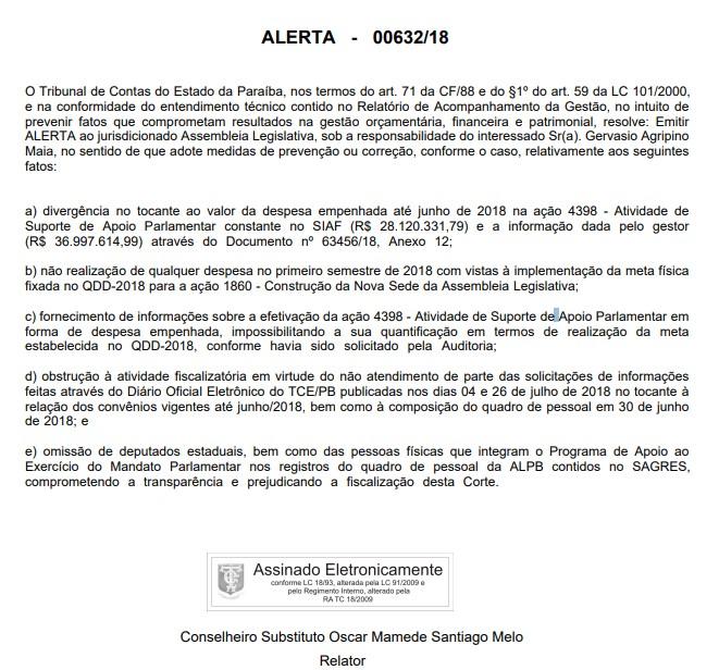 alerta alpb - TCE alerta ALPB por omitir salários dos deputados e vê obstrução à atividade fiscalizatória