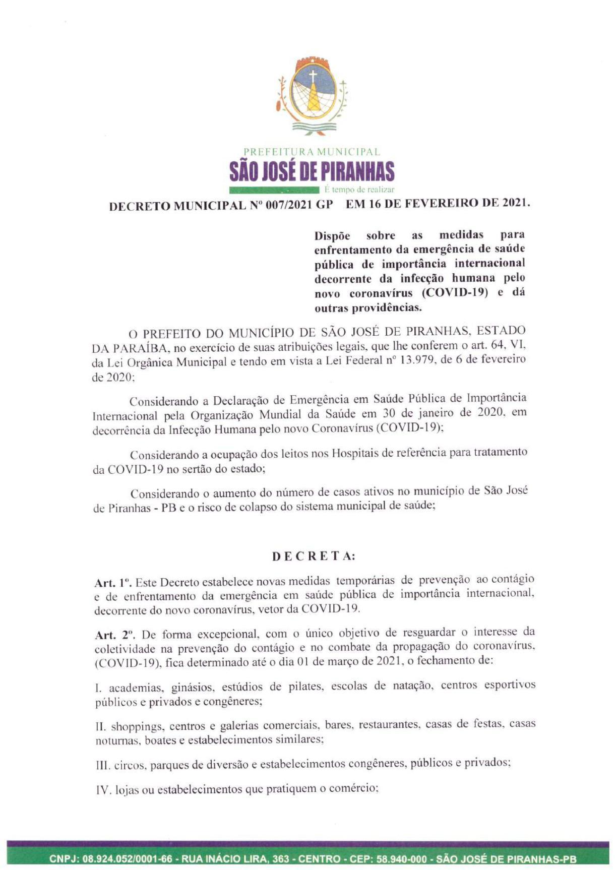 0001 Prefeito de São José de Piranhas fecha atividades não essenciais e proíbe venda de bebidas alcoólicas na cidade