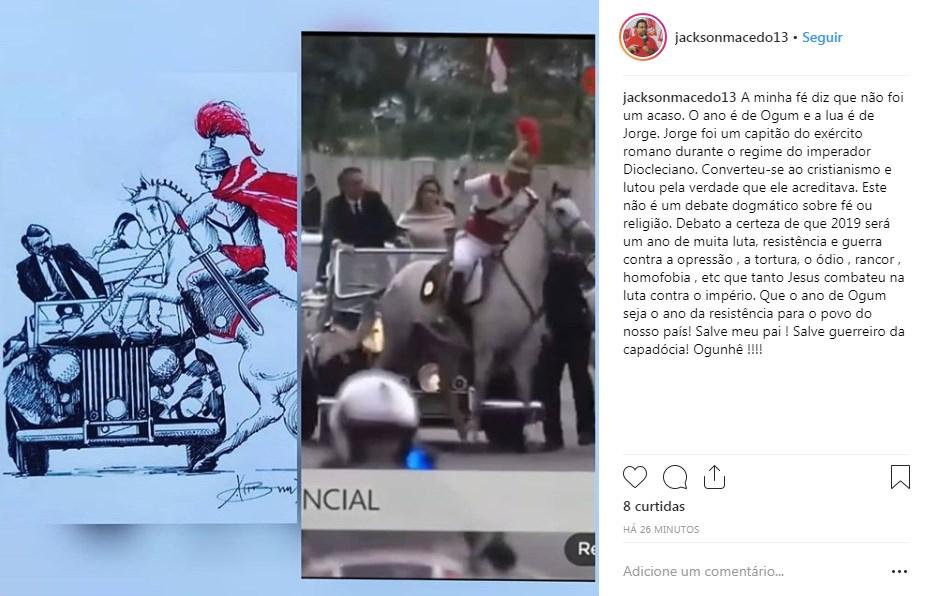 postagem - Presidente do PT da Paraíba atribui a Ogum acidente com cavalo na posse de Bolsonaro