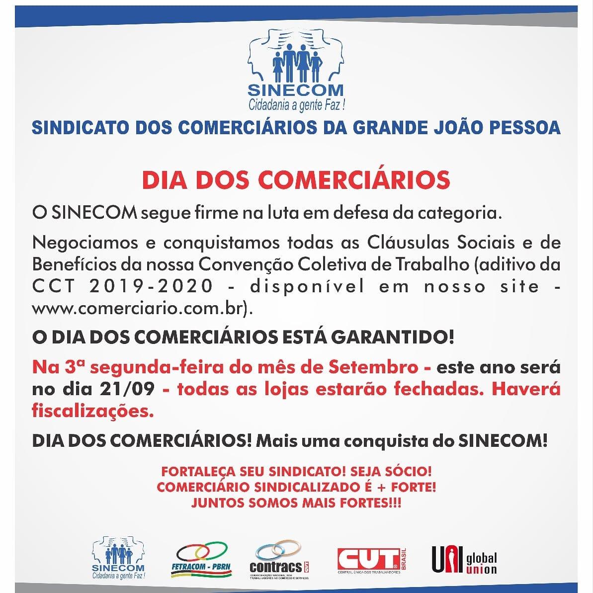 comerciarios - Comércios de João Pessoa, Campina Grande e mais 20 cidades fecham na próxima segunda-feira