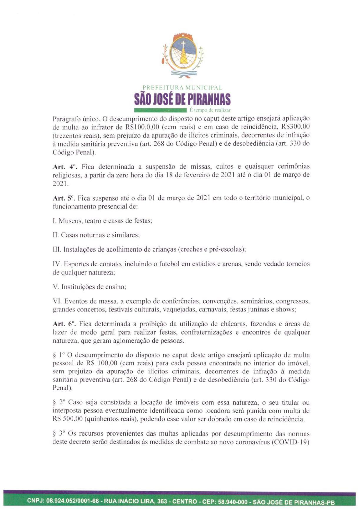 0003 Prefeito de São José de Piranhas fecha atividades não essenciais e proíbe venda de bebidas alcoólicas na cidade